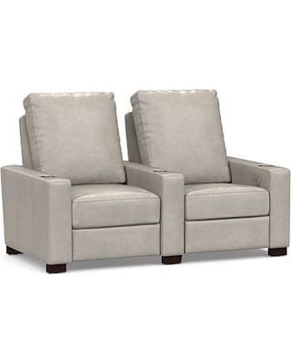 Turner Square Arm Leather 2-Piece Media Armchair Sectional, Down Blend Wrapped Cushions, Statesville Pebble