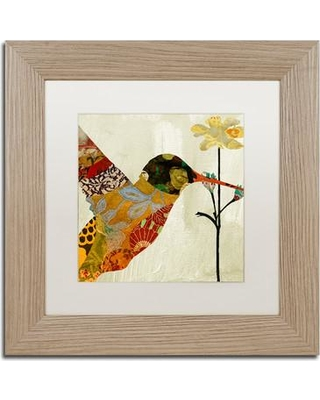 """Trademark Art 'Hummingbird Brocade III' by Color Bakery Framed Graphic Art ALI4124-T1 Size: 11"""" H x 11"""" W x 0.5"""" D Mat Color: White"""