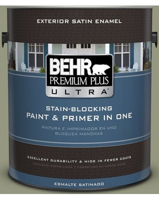 BEHR Premium Plus Ultra 1 gal. #S380-5 Milkweed Pod Satin Enamel Exterior Paint and Primer in One
