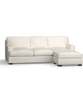 Townsend Square Arm Upholstered Sofa with Reversible Storage Chaise Sectional, Polyester Wrapped Cushions, Denim Warm White
