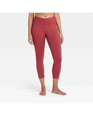 """Women's Simplicity Mid-Rise Capri Leggings 20"""" - All in Motion Cranberry XXL, Red"""