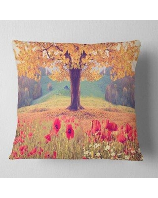 """East Urban Home Photography Landscape with Poppy Flowers Pillow FTCI6481 Size: 18"""" x 18"""" Product Type: Throw Pillow"""