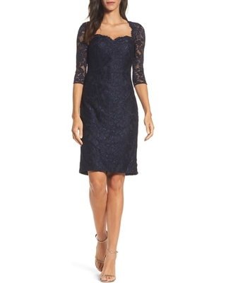 Women's La Femme Sweetheart Lace Sheath Dress, Size 12 - Blue