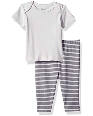 Hanes Ultimate Baby Flexy 2 Piece Set (Pant with Short Sleeve Crew Tee), Grey Stripe, 18-24 Months