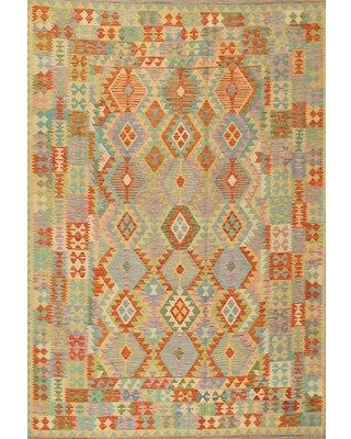 East Urban Home Contemporary Red/Orange/Green Area Rug W001505979 Rug Size: Rectangle 2' x 4'