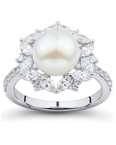 Arabella Cultured Freshwater Pearl (9mm) & Cubic Zirconia Halo Ring in Sterling Silver - Sterling Silver