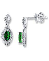 Lab-Created Emeralds Diamond Accents Sterling Silver Earrings