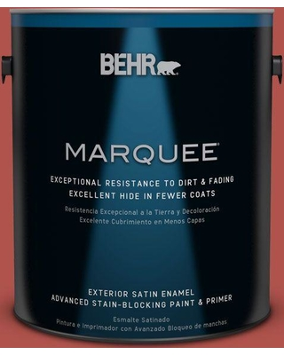 BEHR MARQUEE 1 gal. #BIC-48 Fortune Red Satin Enamel Exterior Paint and Primer in One