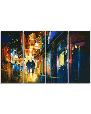 Design Art Couple Walking in an Alley Cityscape 4 Piece Painting Print on Wrapped Canvas Set, Canvas & Fabric in Brown/Blue/Yellow | Wayfair
