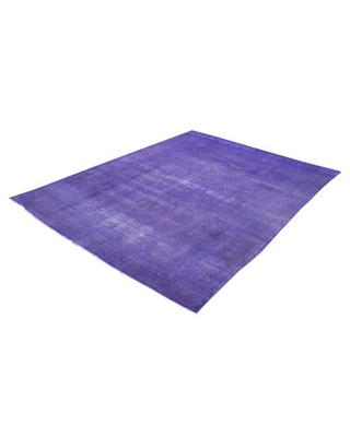 """One-of-a-Kind Bonefield Hand-Knotted 1980s Overdyed Purple 9'7"""" x 12'4"""" Wool Area Rug"""