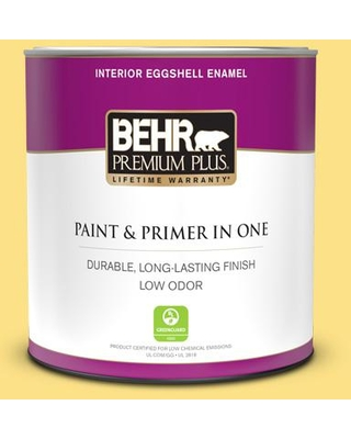 BEHR PREMIUM PLUS 1 qt. #380B-4 Daffodil Yellow Eggshell Enamel Low Odor Interior Paint and Primer in One