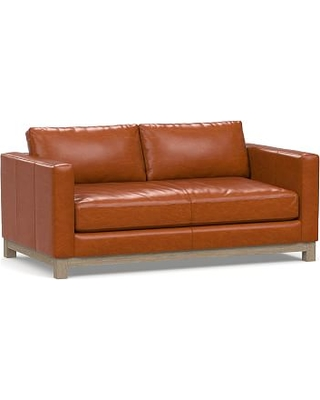 "Jake Leather Loveseat 70"" with Wood Legs, Down Blend Wrapped Cushions, Legacy Dark Caramel"