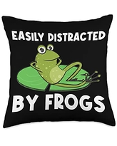 Funny Amphibian Animal Green Frog Themed Designs Frog Gift For Men Women Cute Bullfrog Toad Tadpole Lovers Throw Pillow, 18x18, Multicolor