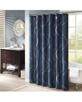 """Fenice Embroidered Shower Curtain - Navy (Blue) (72""""x72"""")"""