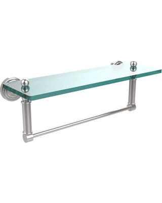 Allied Brass Waverly Place 16 in. L x 5 in. H x 5 in. W Clear Glass Bathroom Shelf with Towel Bar in Polished Chrome