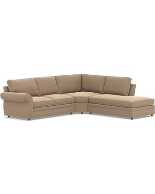 Pearce Roll Arm Upholstered Left 3-Piece Bumper Wedge Sectional, Down Blend Wrapped Cushions, Performance Plush Velvet Camel