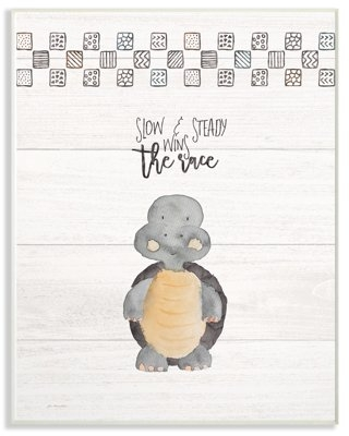 The Kids Room by Stupell Slow And Steady Wins Turtle Oversized Wall Plaque Art, 13 x 0.5 x 19
