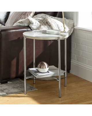 Spectacular Sales For Lola Faux White Marble Chrome End Table By Bellamy Studios