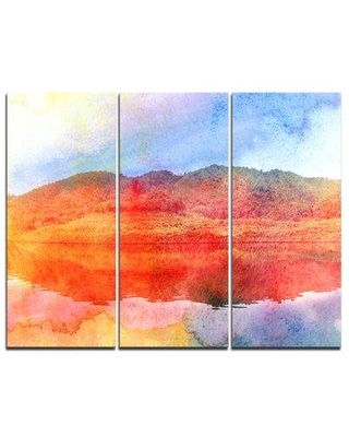 Design Art Red Retro Island Watercolor - 3 Piece Graphic Art on Wrapped Canvas Set PT7791-3P