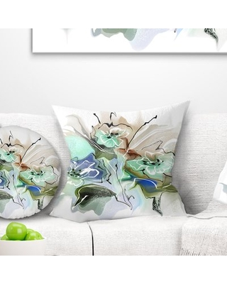 "Floral Textured Watercolor Pillow East Urban Home Size: 18"" x 18"", Product Type: Throw Pillow"