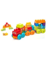 Mega Bloks First Builders ABC Musical Train with Big Building Blocks, Building Toys for Toddlers (50 Pieces)
