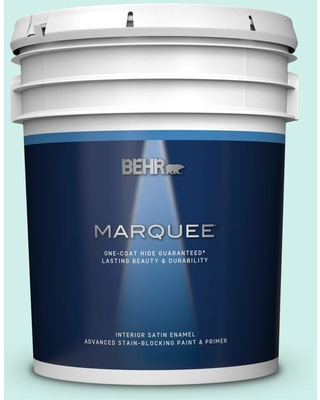 BEHR MARQUEE 5 gal. #490A-1 Teal Ice Satin Enamel Interior Paint and Primer in One