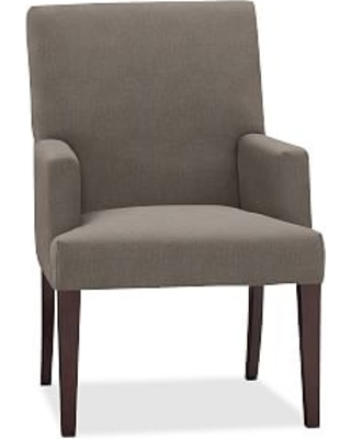 PB Comfort Square Upholstered Dining Armchair, Performance Heathered Tweed Graphite