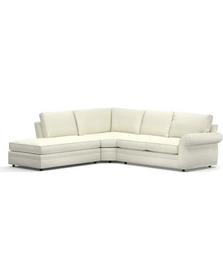 Pearce Roll Arm Upholstered Right 3-Piece Bumper Wedge Sectional, Down Blend Wrapped Cushions, Performance Slub Cotton Ivory