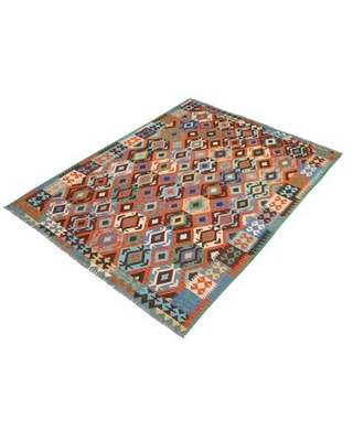 """One-of-a-Kind Ceporah Hand-Knotted 1990s 6'9"""" x 9'9"""" WoolArea Rug inRust/Blue"""