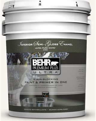 BEHR ULTRA 5 gal. #PR-W13 Crystal Cut Semi-Gloss Enamel Interior Paint and Primer in One