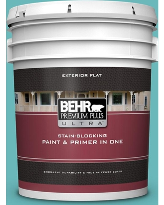 BEHR Premium Plus Ultra 5 gal. #510D-5 Surfer Flat Exterior Paint and Primer in One