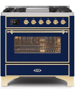 """UM09FDNS3MBG 36"""" Majestic II Series Dual Fuel Natural Gas Range with 6 Burners and Griddle 3.5 cu. ft. Oven Capacity TFT Oven Control Display"""