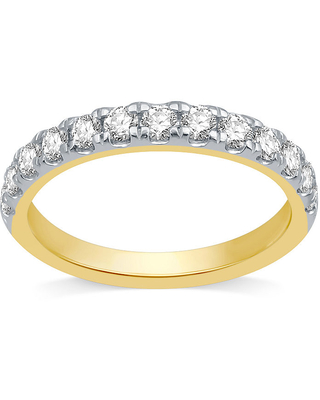 Ever Star Womens 3MM 3/4 CT. T.W. Lab Grown White Diamond 10K Gold Band