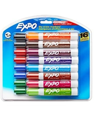Expo Low Odor Dry-Erase Marker, Chisel Tip, Assorted Colors, 16/Pack (81045)