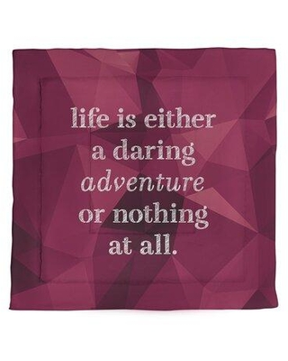 East Urban Home Faux Gemstone Life Adventure Quote Microfiber Comforter - King Size EBJZ7474 Size: Queen Comforter Color: Spinel