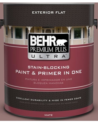 BEHR ULTRA 1 gal. #130F-5 Mushroom Basket Flat Exterior Paint and Primer in One