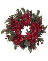 Nearly Natural Red 24 in Poinsettia and Berry Wreath