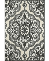 Kitchen Rugs, Maples Rugs [Made in USA][Vivian] 2'6 x 3'10 Non Slip Padded Small Area Rugs for Living Room, Bedroom, and Entryway - Grey