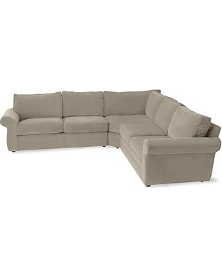 Pearce Roll Arm Upholstered 3-Piece L-Shaped Wedge Sectional, Down Blend Wrapped Cushions, Performance Everydayvelvet(TM) Carbon