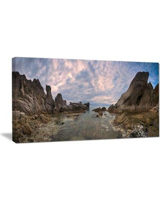 """Design Art Rocky Beach East Sea on Overcast Day Photographic Print on Wrapped Canvas PT11520- Size: 20"""" H x 40"""" W x 1"""" D"""