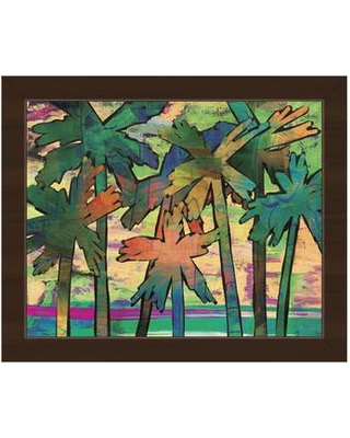 "Click Wall Art 'Psycho Palms Theta' Framed Painting Print TRE0000242FR Size: 18.5"" H x 22.5"" W x 1"" D Frame Color: Espresso"