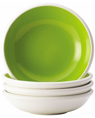 Rachael Ray Dinnerware Rise 4-Piece Stoneware Fruit Bowl Set in Green