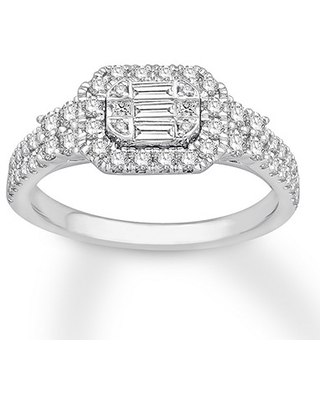 Diamond Engagement Ring 3/4 ct tw Baguette/Round 14K White Gold
