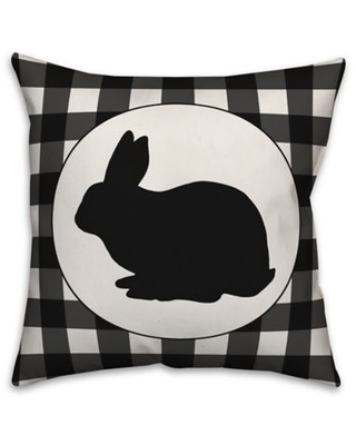 Designs Direct Check Bunny Square Throw Pillow in Black