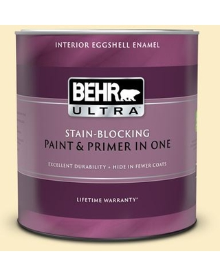 BEHR ULTRA 1 qt. #330A-2 Frosted Lemon Eggshell Enamel Interior Paint and Primer in One