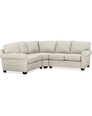 Buchanan Roll Arm Upholstered Curved 3-Piece L-Shaped Sectional, Polyester Wrapped Cushions, Sunbrella(R) Performance Sahara Weave Ivory