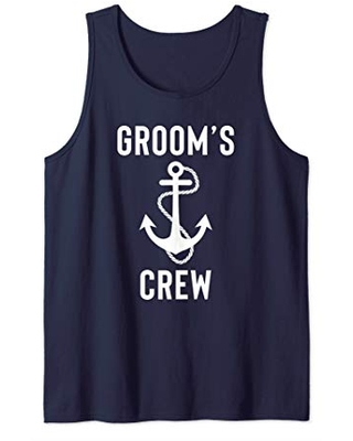 Mens Cruise Boat Bachelor Party Groom's Crew Matching Groomsman Tank Top