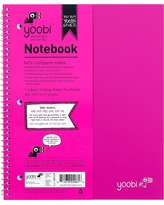 """Yoobi Spiral College Ruled 1 Subject Notebook - Pink, 8.5"""" x 11"""", 100 Sheets"""