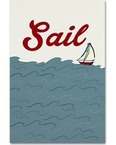 Boat 1' by Lantern Press Ready to Hang Canvas Wall Art - Blue
