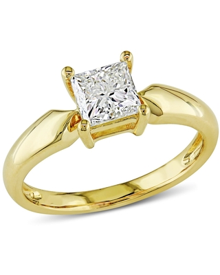 Miadora Signature Collection 14k Yellow Gold 1ct TDW Princess-cut Diamond Solitaire Engagement Ring - White (6.5)